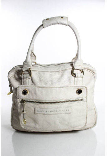 Marc By Marc JacobsMARC BY MARC JACOBS Ivory Pebbled Leather Gold Tone Double Strap Satchel Handbag