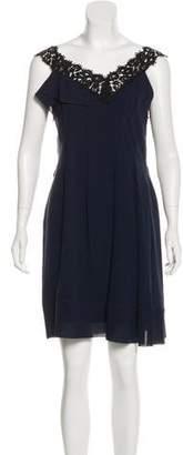 Nina Ricci Silk Lace-Trimmed Dress