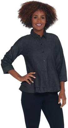 Joan Rivers Classics Collection Joan Rivers Button Front Denim Shirt w/ Peplum Detail