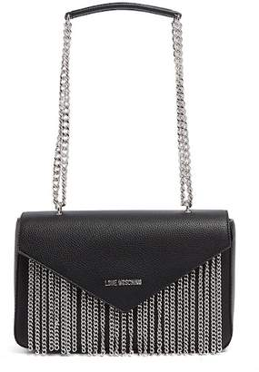 Love Moschino Chain Accent PU Leather Shoulder Bag
