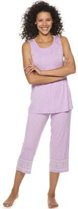 Croft & Barrow Petite Smocked 2-Piece Pajama Set