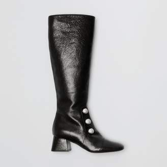 Burberry Stud Detail Leather Knee-high Boots , Size: 36, Black