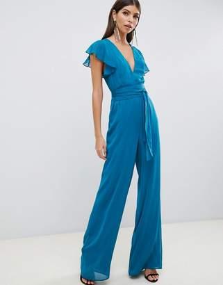 Asos Design DESIGN flutter sleeve jumpsuit
