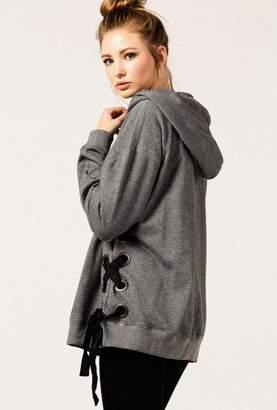 Azalea Lace Up Side Oversized Hoodie