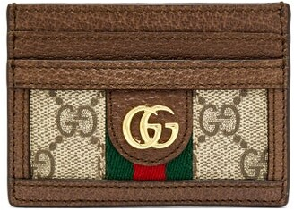 Gucci Ophidia Gg Plaque Leather Cardholder - Womens - Beige Multi