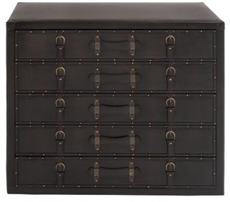DecMode Decmode 32 X 36 Inch Traditional Wood and Leather Five-Drawer Chest, Dark espresso