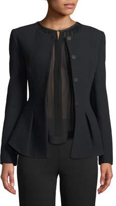 Emporio Armani Snap-Closure Stretch-Wool Crepe Peplum Jacket