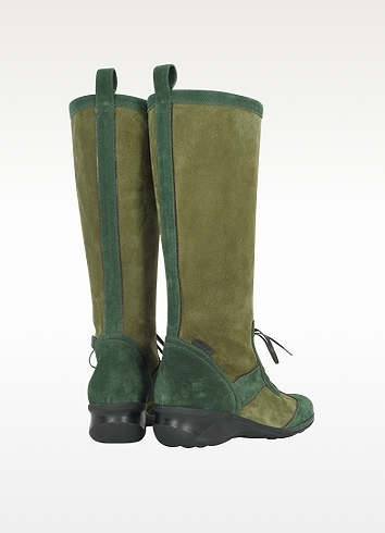 a. testoni A.Testoni Two Tone Green Suede Boot