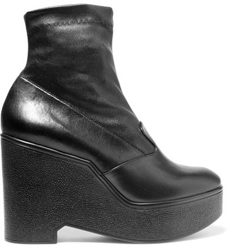 Robert Clergerie - Bilou Leather Wedge Ankle Boots - Black $675 thestylecure.com