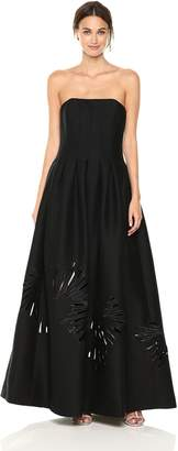 Halston Women's Strapless Seamed Structure Gown, Black/Cream