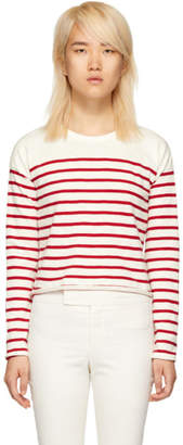 Rag & Bone White and Red Striped Halsey Long Sleeve T-Shirt