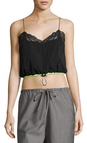 Alexander Wang Alexander Wang Lace-Trim Cropped Camisole with Drawstring Waist, Nocturnal Black