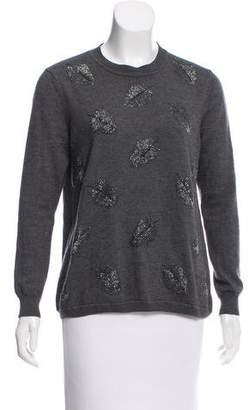 Lela Rose Embellished Wool-Blend Sweater