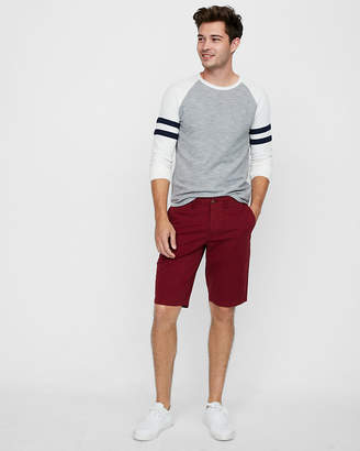 Express Classic Fit 12 Inch Stretch Flat Front Shorts