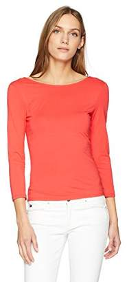 GUESS Women's Three Quarter Sleeve Gillian Lace up Back Top