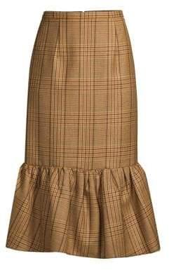 Michael Kors Rumba Houndstooth Flounce Midi Skirt
