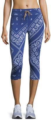 The Upside Bandana-Print Drawstring Cropped Leggings
