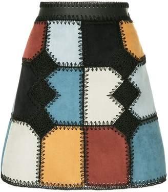 Loveless patchwork mini a-line skirt