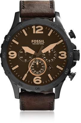 Fossil Nate Chronograph Brown Leather Watch
