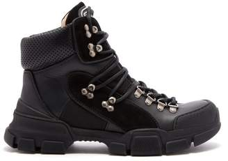 Gucci Flashtrek Leather High Top Trainers - Womens - Black