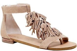 Sole Society Fringe Flat Sandals - Koa