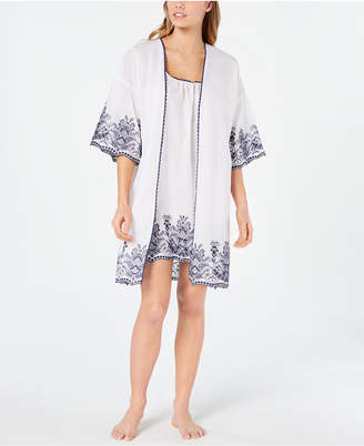 Charter Club Embroidered Woven Cotton Chemise Nightgown and Wrap Robe Set
