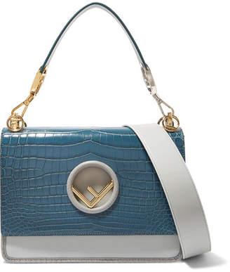 Fendi Kan I Python-trimmed Leather And Crocodile Shoulder Bag - Blue