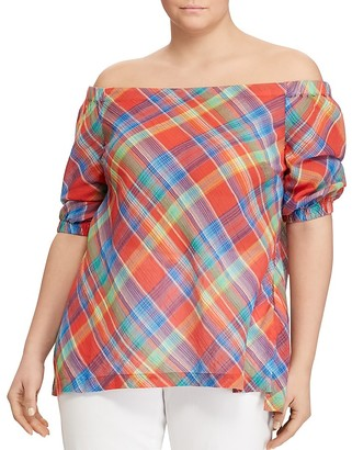 Lauren Ralph Lauren Plus Madras Plaid Off-the-Shoulder Top $99.50 thestylecure.com
