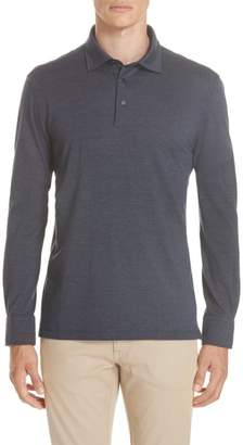 Ermenegildo Zegna Wool & Cotton Long Sleeve Polo Shirt