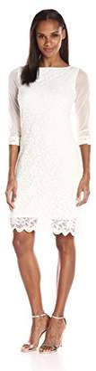 Tiana B Women's 3/4 Dress with Chiffon Sleeves and Scalloped Lace Hem