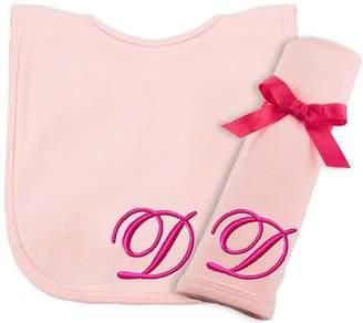 Princess Linens Embroiere Cotton Knit Bib an Burp Set - Pink