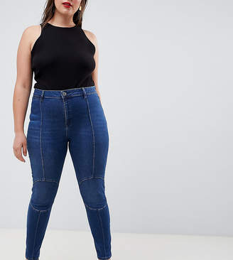 Asos Design Curve Ridley High Waist Skinny Jeans With Circluar Moto Knee Detail In Dark Wash Blue