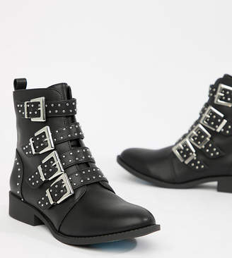 Qupid Studded Flat Ankle Boots