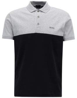 BOSS Hugo Color-block polo shirt rear photographic landscape print L Black