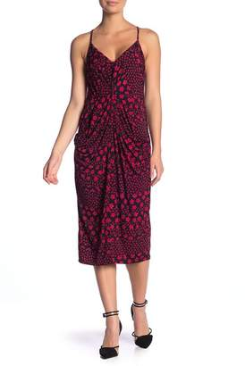 BCBGeneration Faux Wrap Print Midi Dress