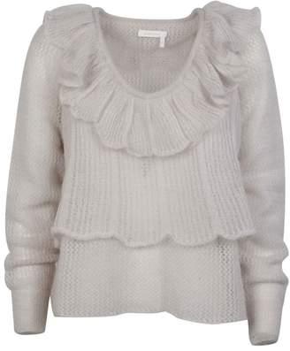 See by Chloe Ruffle Open Knit Sweater