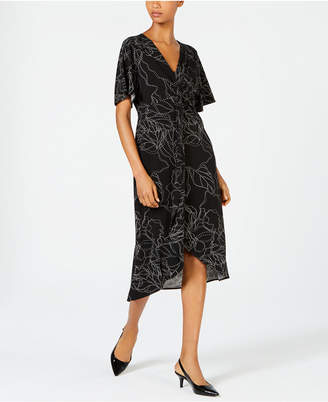 Alfani Printed Twist-Front Midi Dress