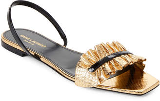 Saint Laurent Black & Gold Edie Ruffle Flat Sandals