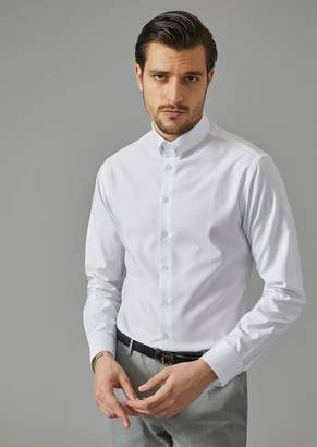 Giorgio Armani Solid Cotton Shirt With Small Collar