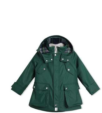 Burberry Cotton Blend Hooded Parka with Detachable Warmer