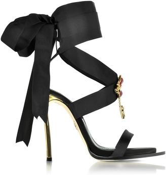 DSquared2 Treasures Black Satin Ankle Wrap High Heel Sandals w/Metal Logo $1,098 thestylecure.com