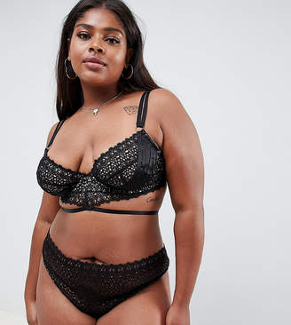 Asos DESIGN Curve geo lace strappy thong