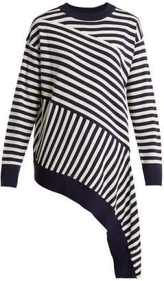 MM6 MAISON MARGIELA Striped asymmetric-hem sweater