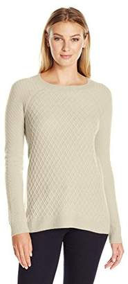 Lark & Ro Women's 100% Cashmere Soft Lattice-Stitch Sweater