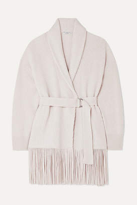 Brunello Cucinelli Belted Ribbed Fringed Cashmere Cardigan - Beige