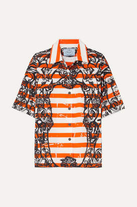Prada Printed Cotton-poplin Shirt - Orange