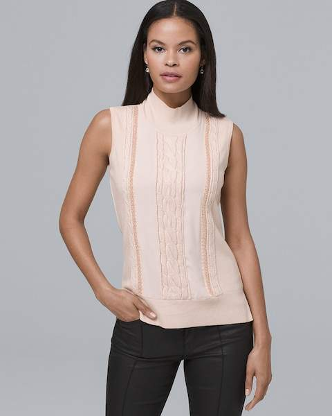 Whbm Sleeveless Cable Knit & Beaded-Trim Sweater