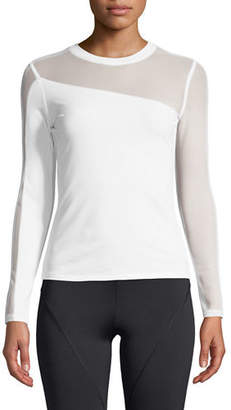 CUSHNIE Long-Sleeve Crewneck Top with Mesh Panels