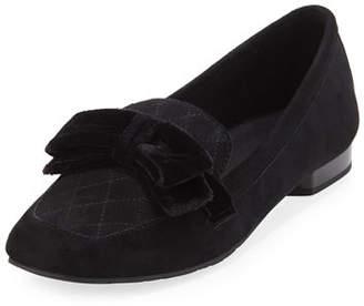 Donald J Pliner Harriet Suede Bow Flat Loafer