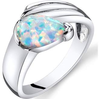 Black Opal Oravo 0.75 Carat T.G.W. Created Engagement Ring in Rhodium-Plated Sterling Silver